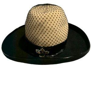 Vintage Paul Beusam custom design beige black hat